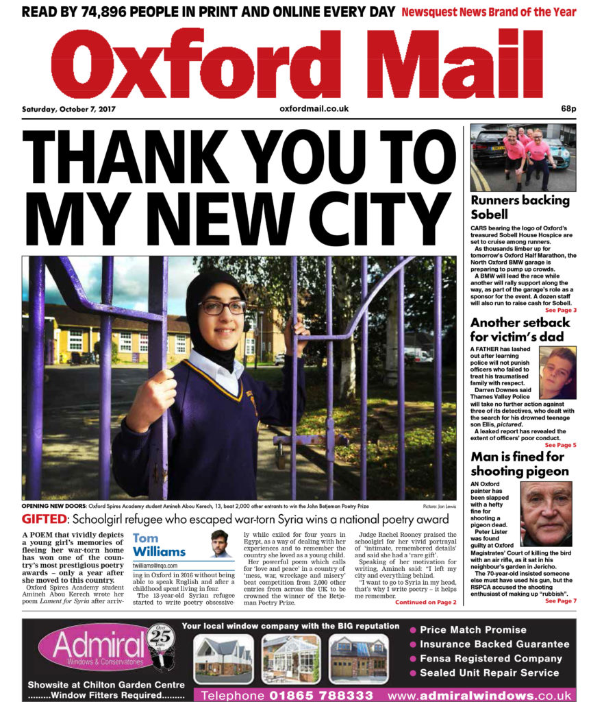 Front Sat 7 Oct oxford mail