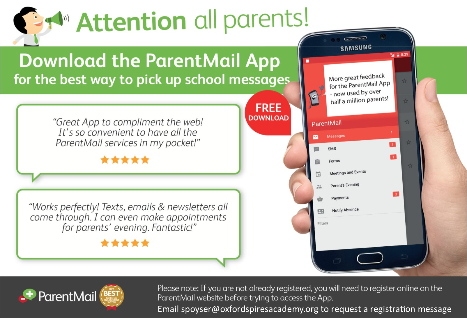 Parentmail app advert